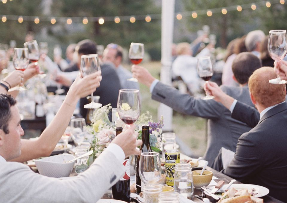 wedding toast in progress