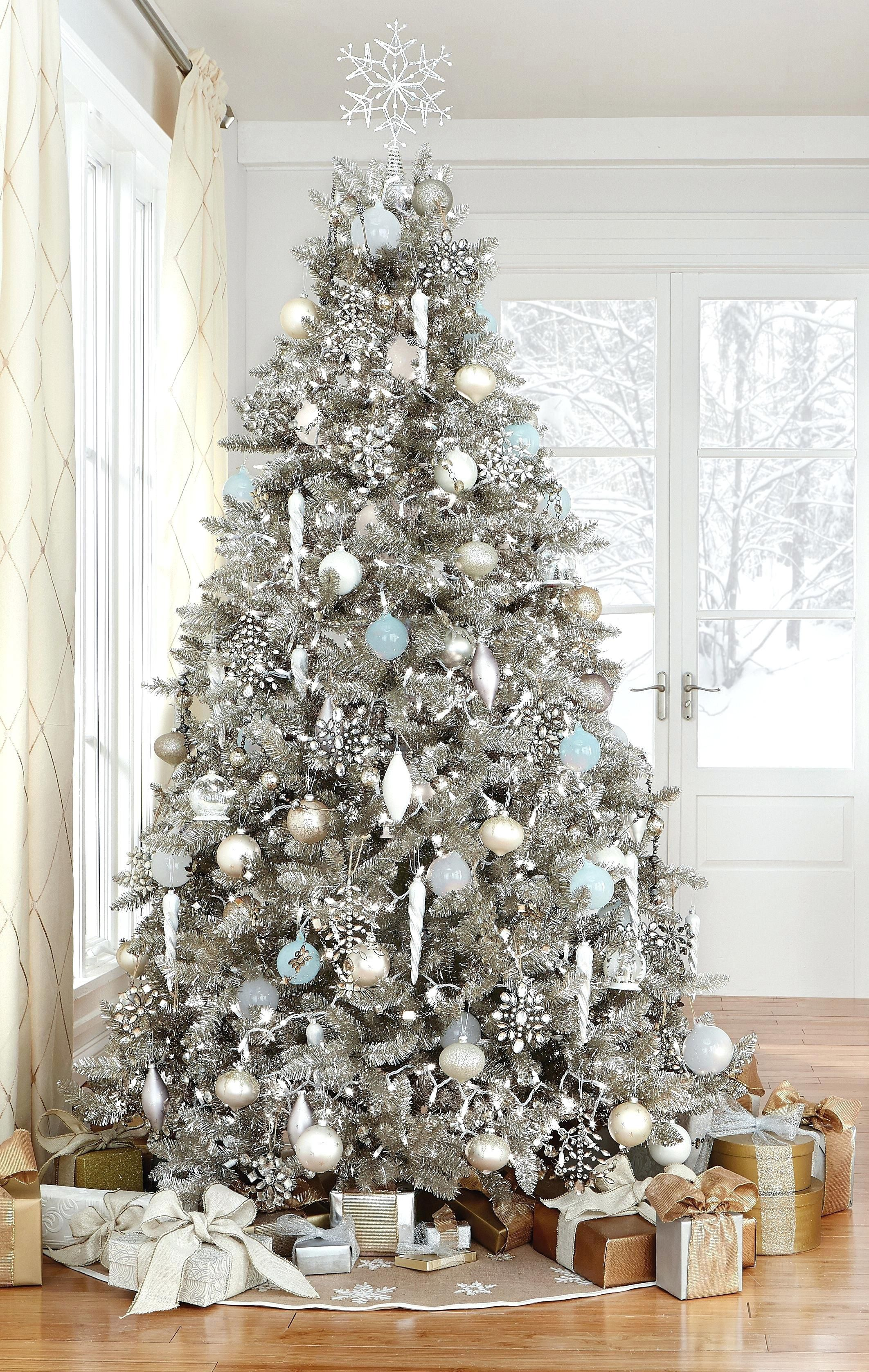 Gray Christmas Tree Decorations.Christmas Decorating Ideas And Color Schemes