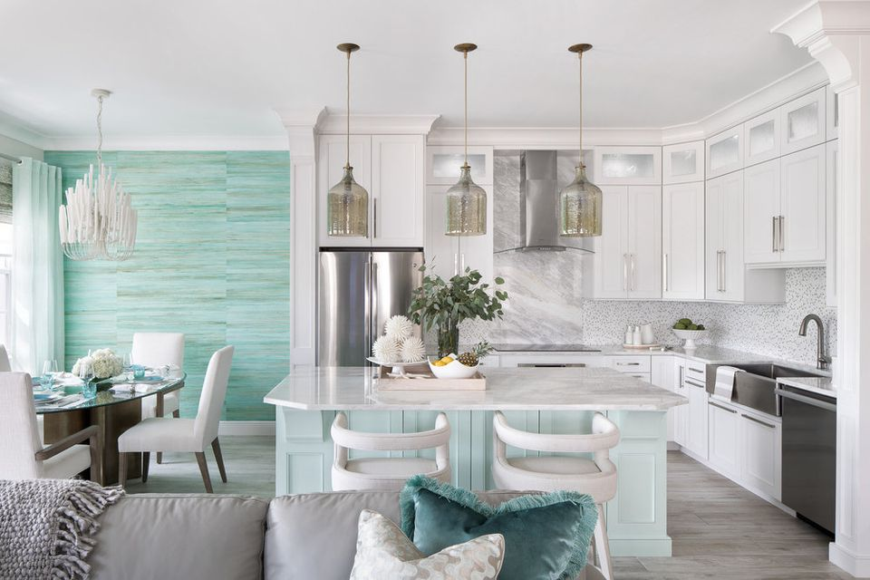 Kitchen with turquoise dining room