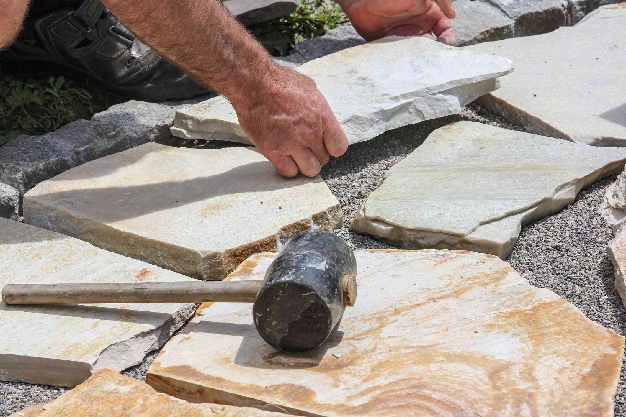 Laying marble plates