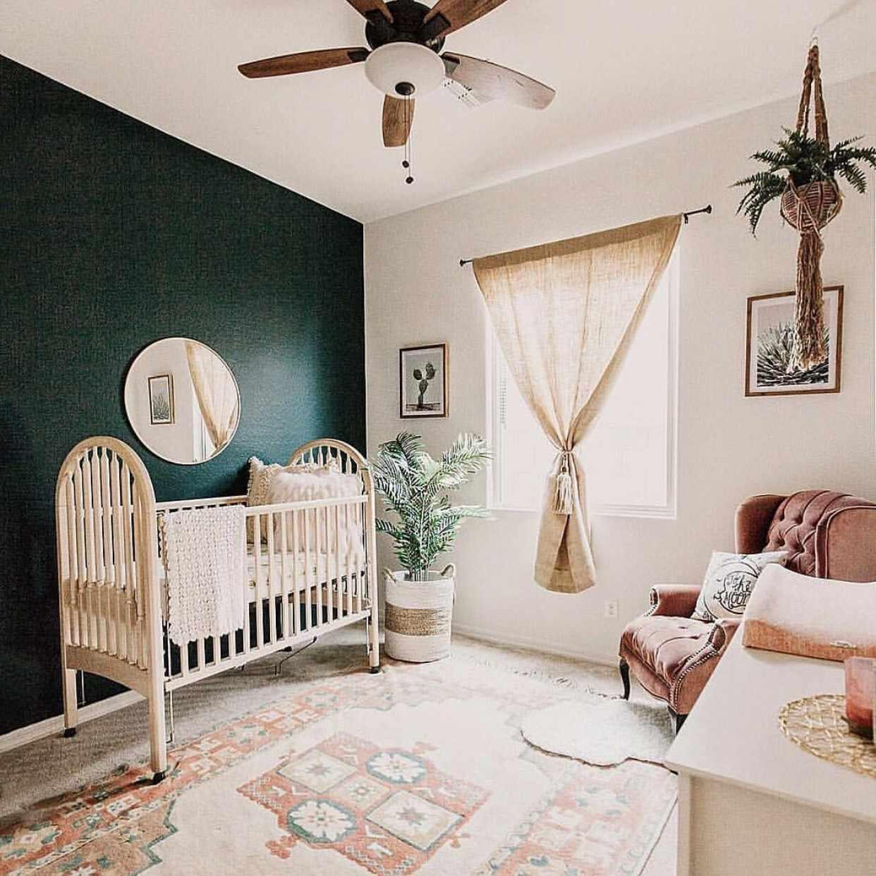 Green and earthy nursery with Southwestern, boho feel