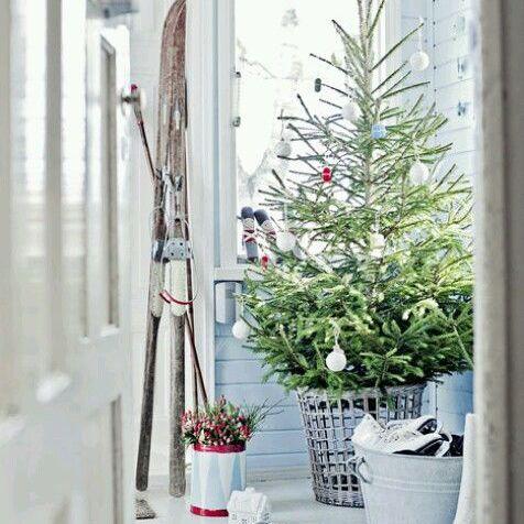 Scandinavian Christmas tree in a basket