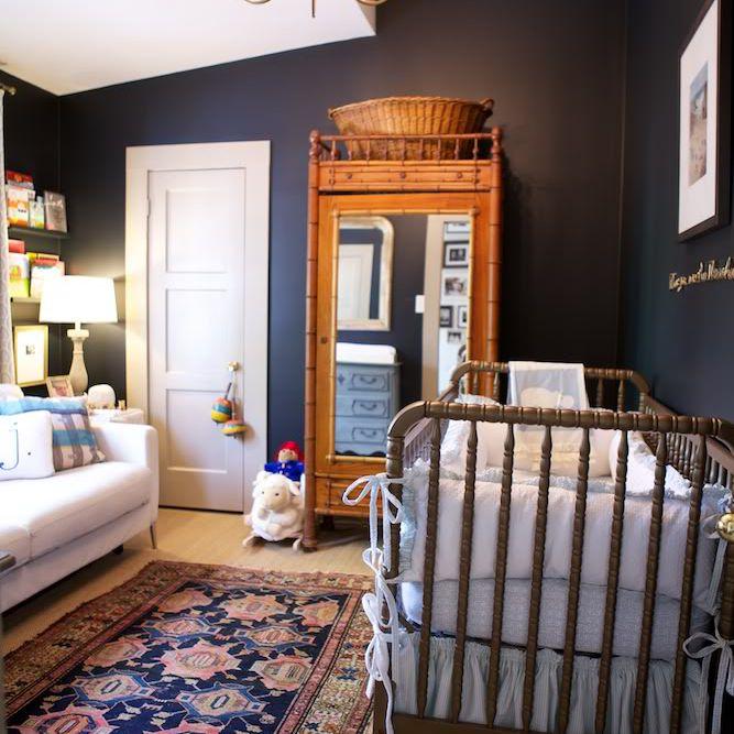 Black walls in a traditional nursery
