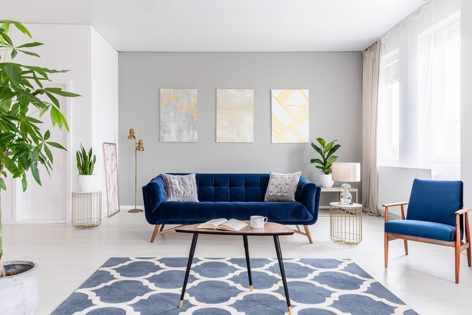 Living room decorated with blue