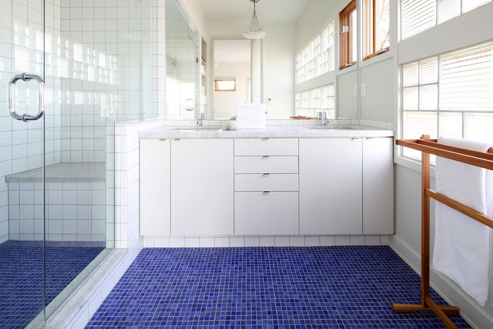 mosaic tile floor in a bathroom