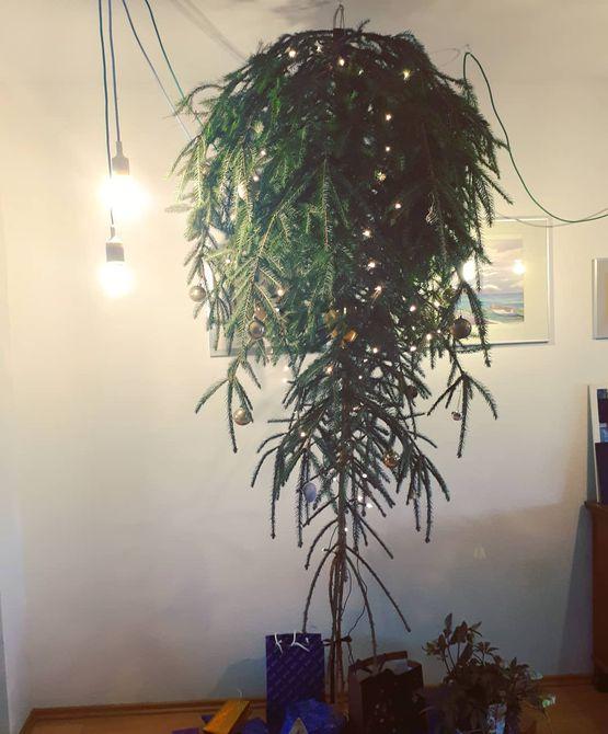 Natural upside-down Christmas árbol