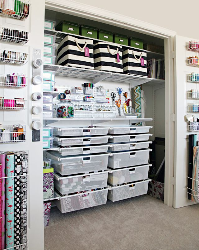 craft organization in a closet