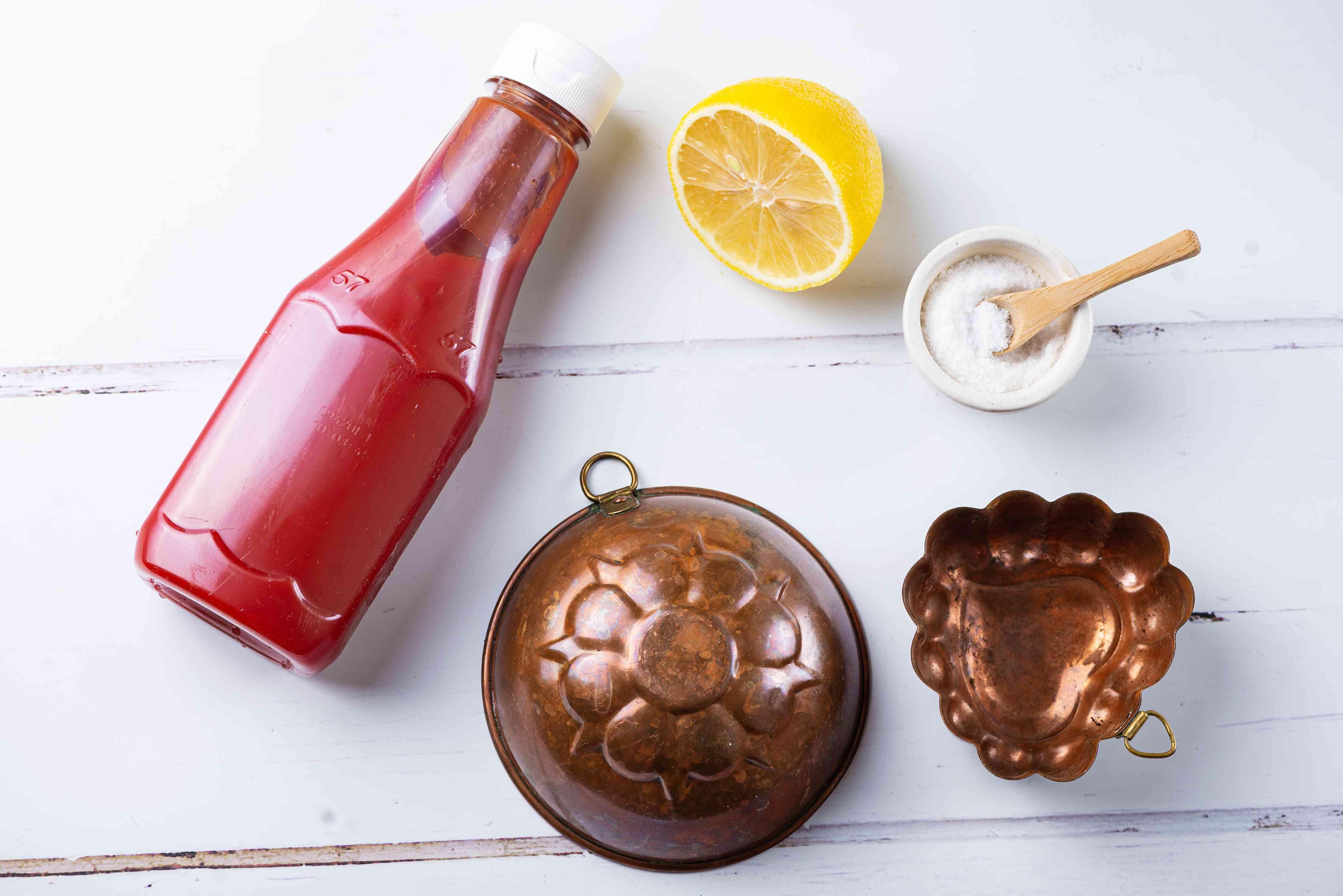 ketchup, lemon, and salt as options for tarnish removal