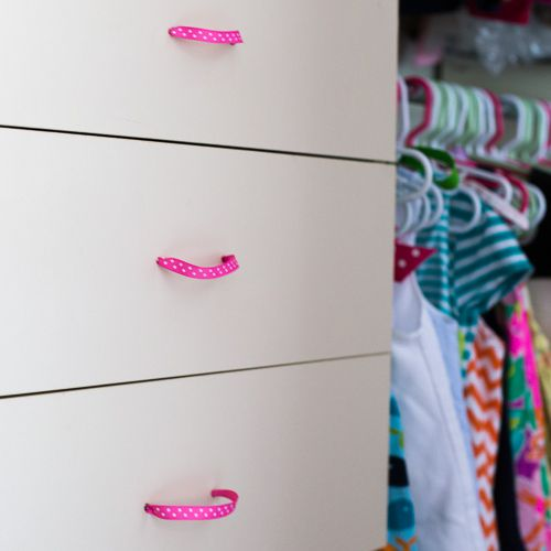 Drawers with pink ribbon pulls