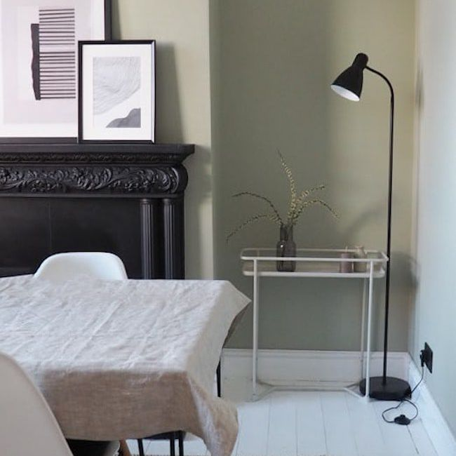 Dining room with black lamp