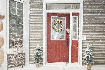 Gray House Red Door