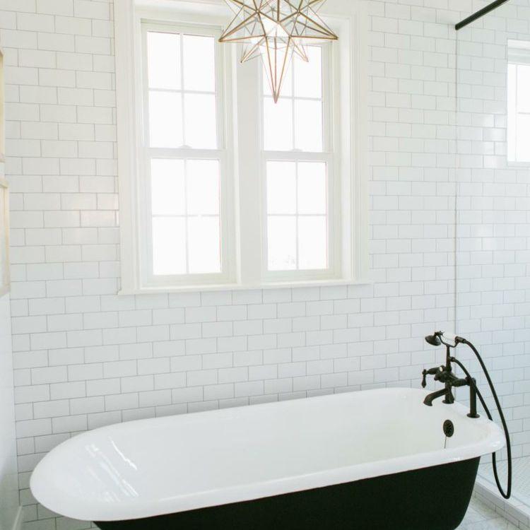 star pendant light over clawfoot tub