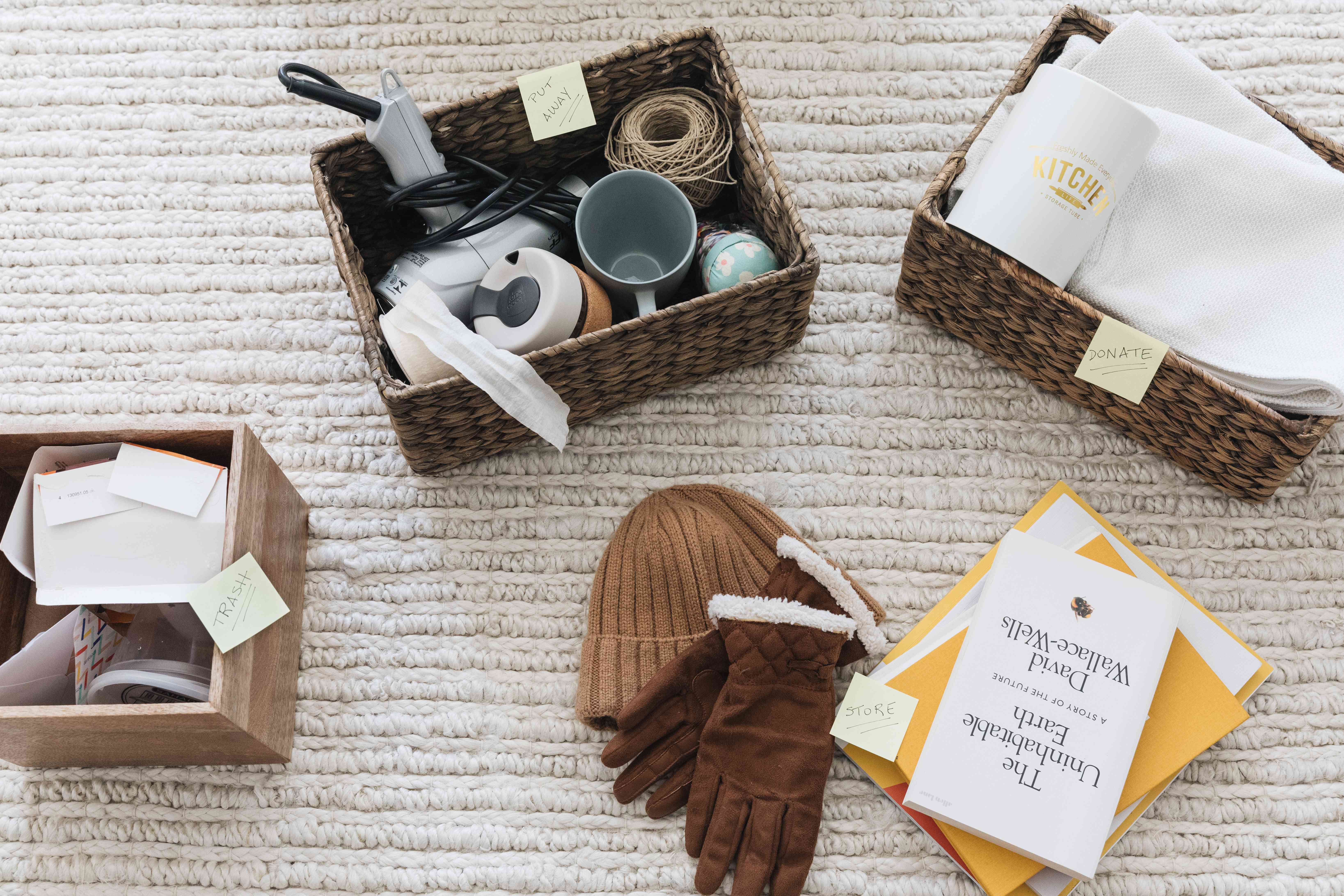 Belongings sorted into four categories for spring-cleaning process