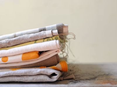 Stack of printed cotton kitchen towels