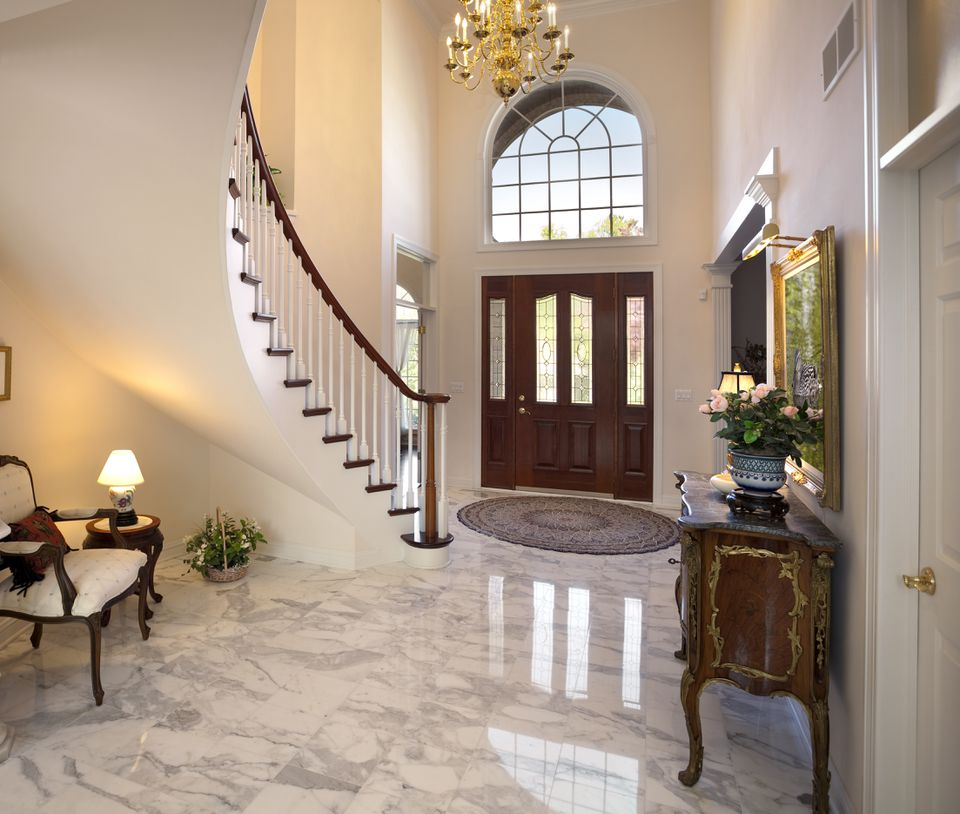 Marble flooring in house foyer