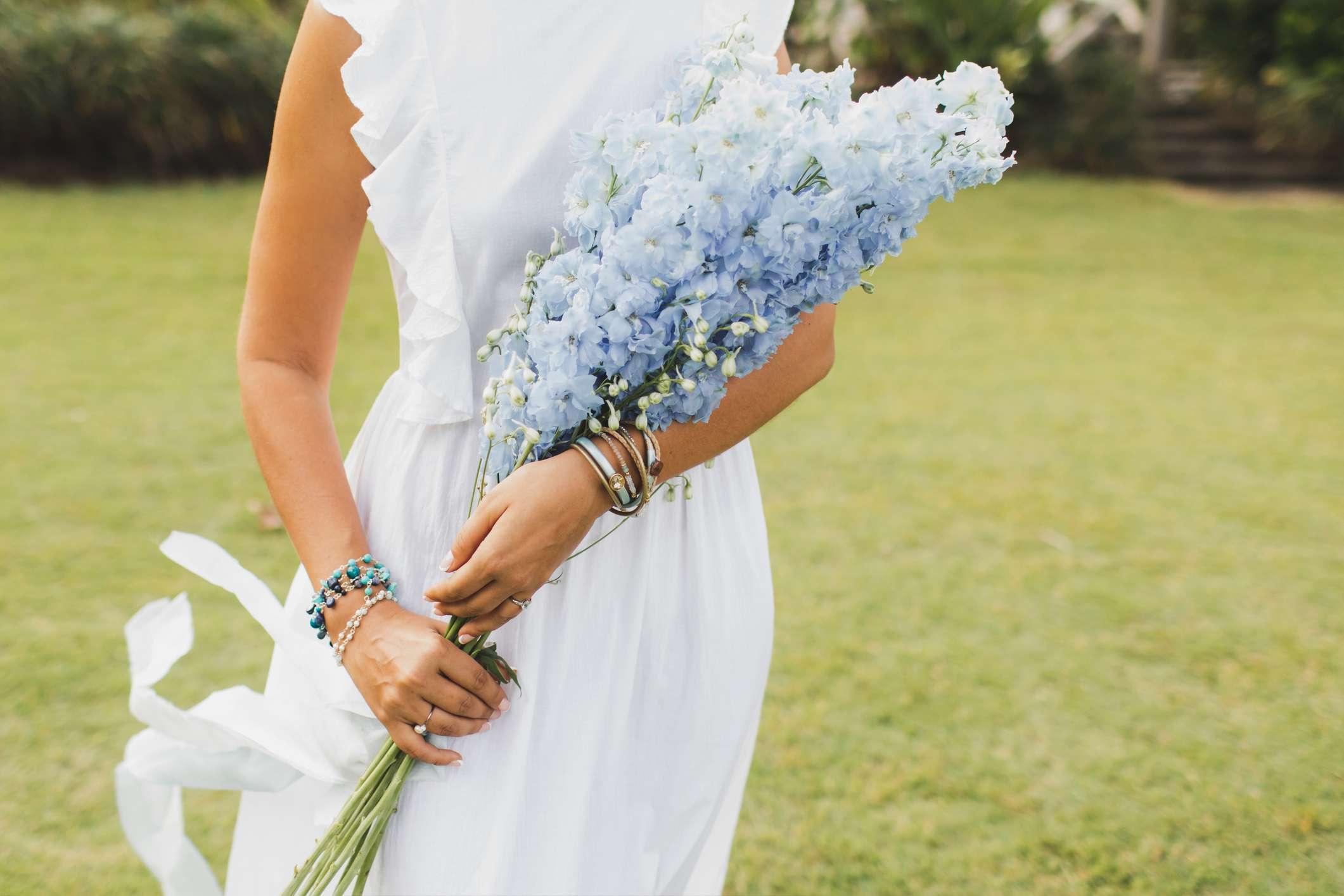 Bouquet of blue delphinium flowers
