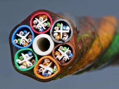 Close up of category 6 network ethernet cable bundle