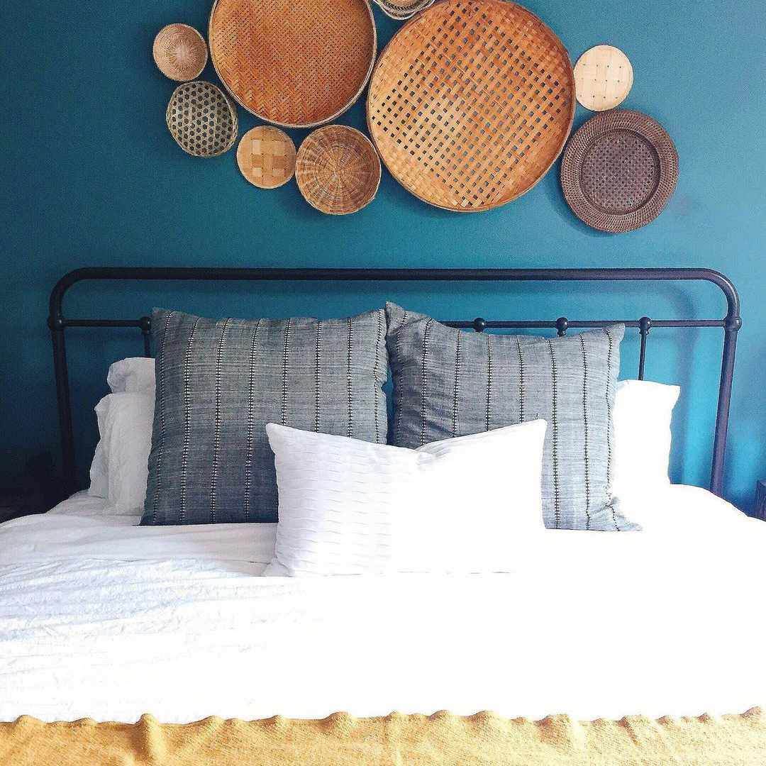 Baskets over a bed