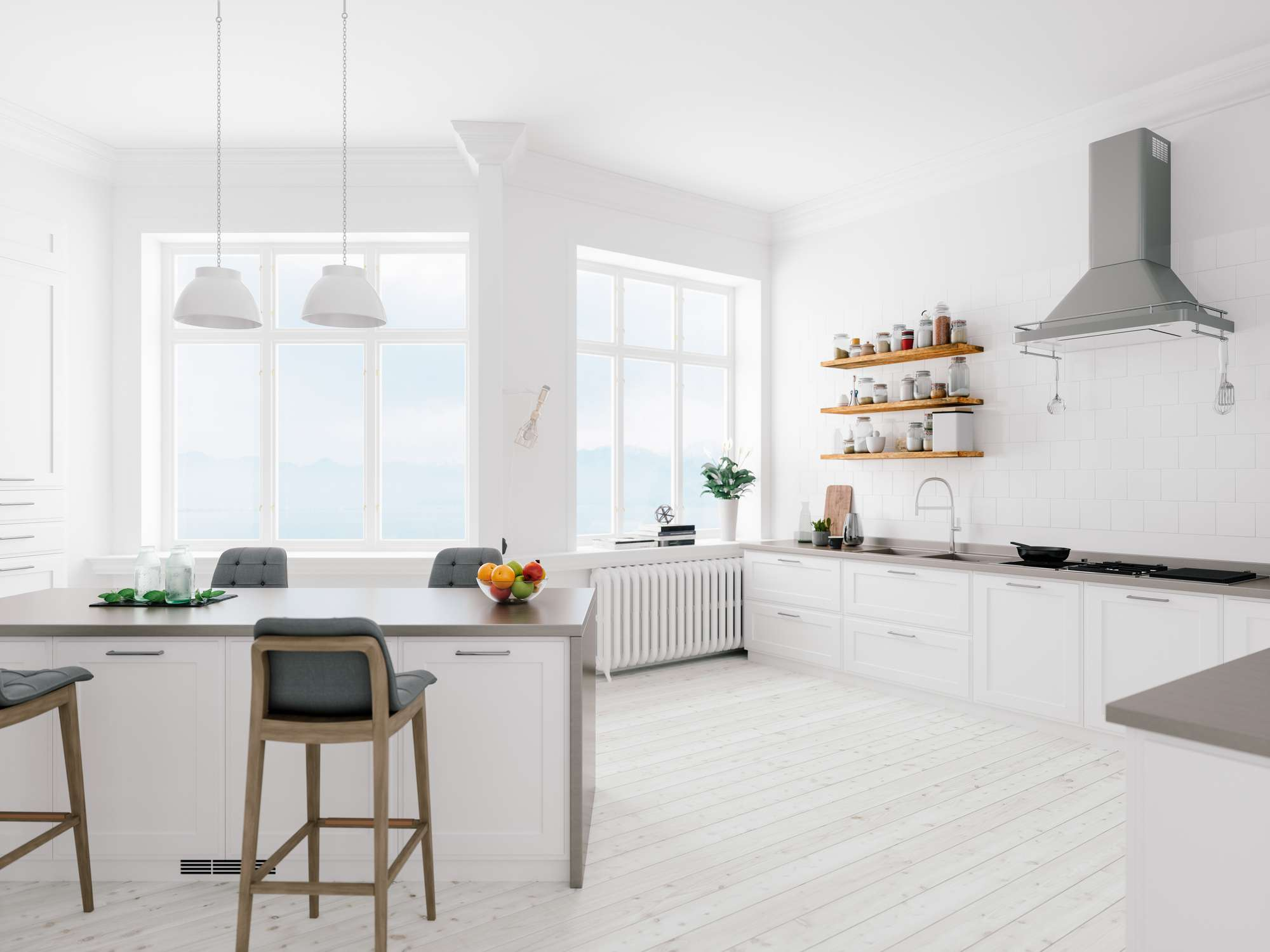 Floating wood shelves in an all-white kitchen.