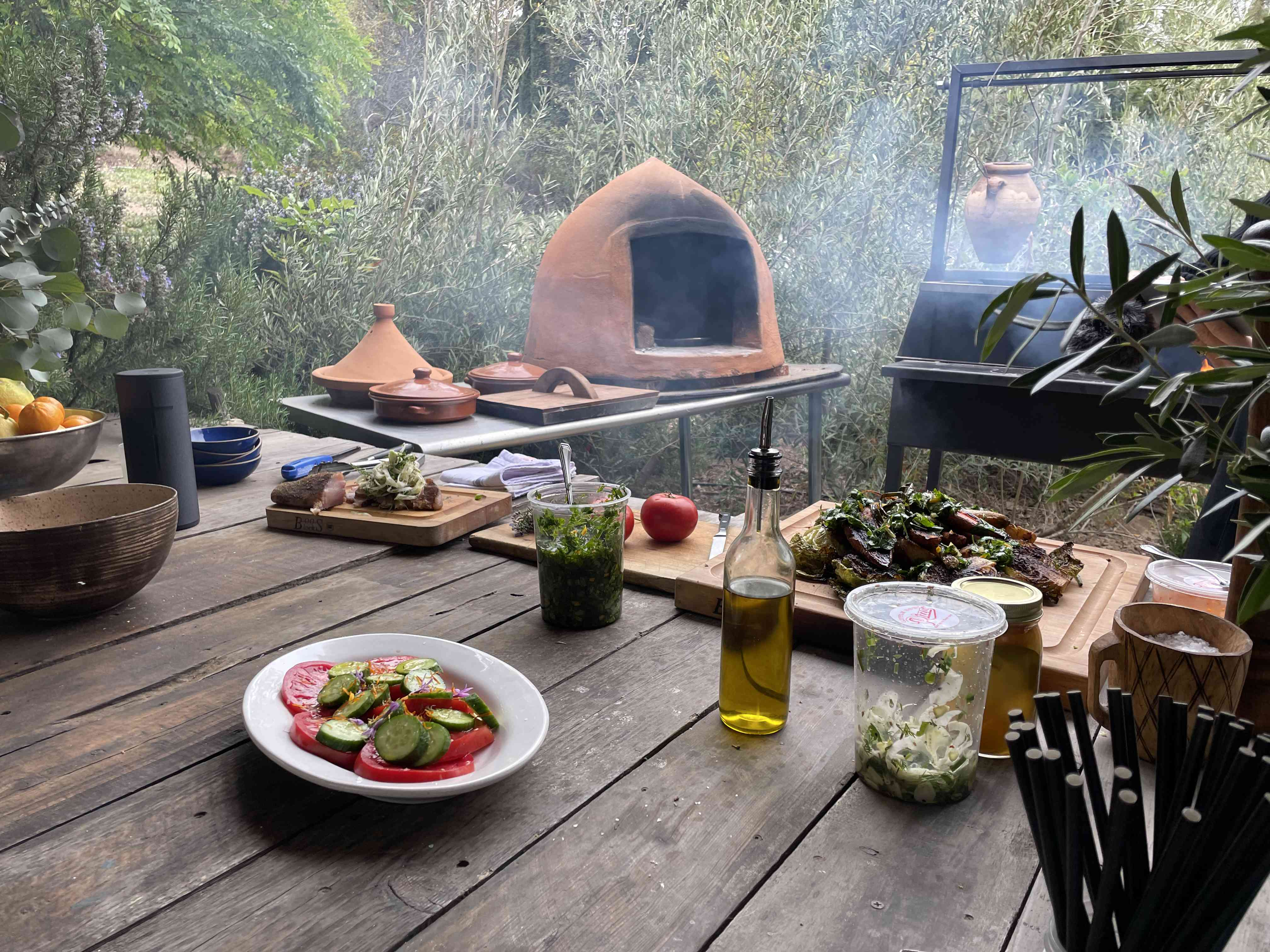 Rustic outdoor kitchen with