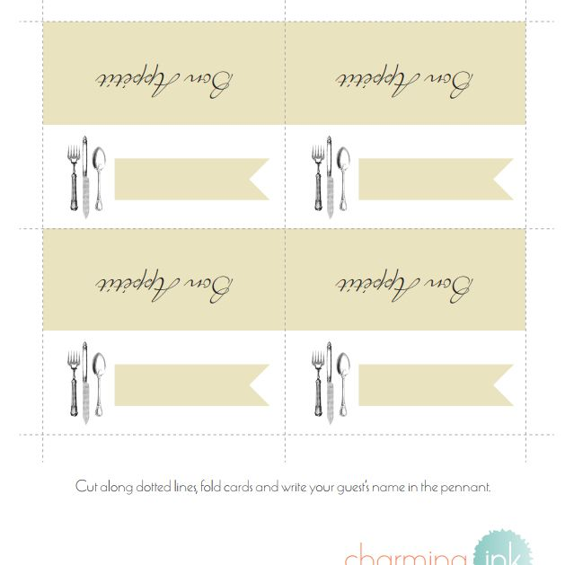 8 Sets Of Wedding Place Card Templates