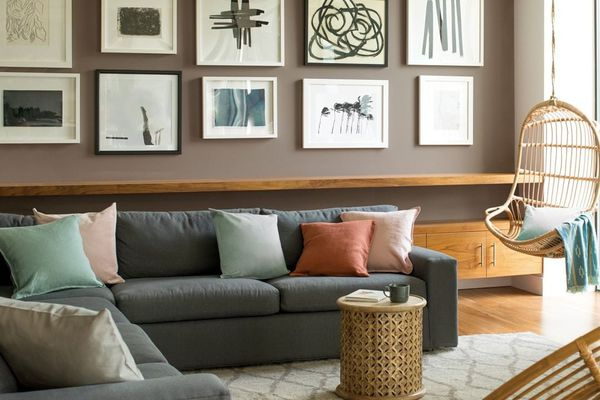 Living room with gallery wall and dark beige walls