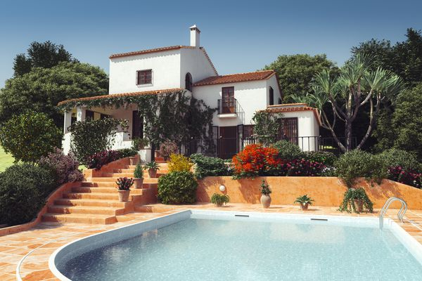 A Mediterranean-style villa with a pool.