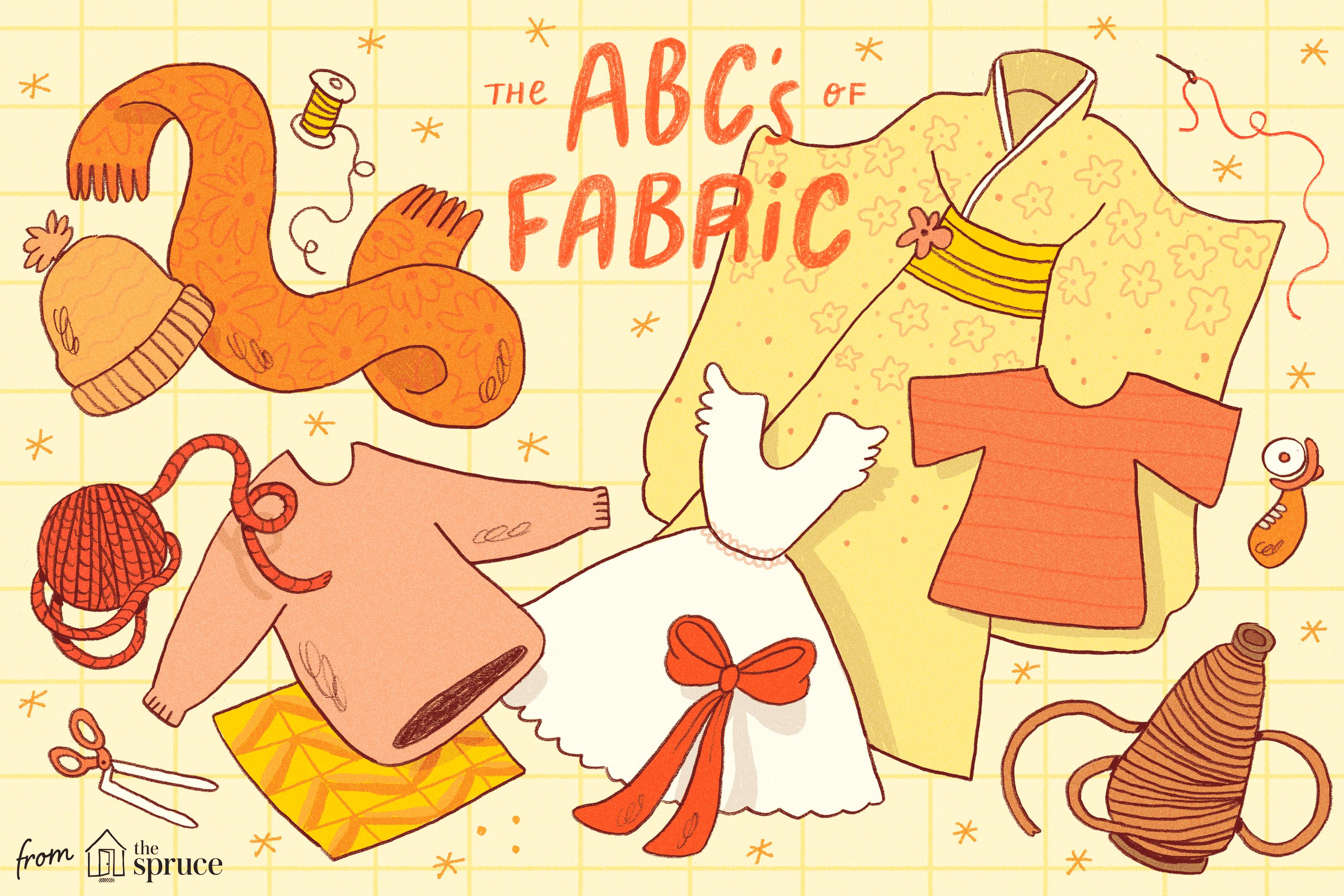 illustration of different fabrics
