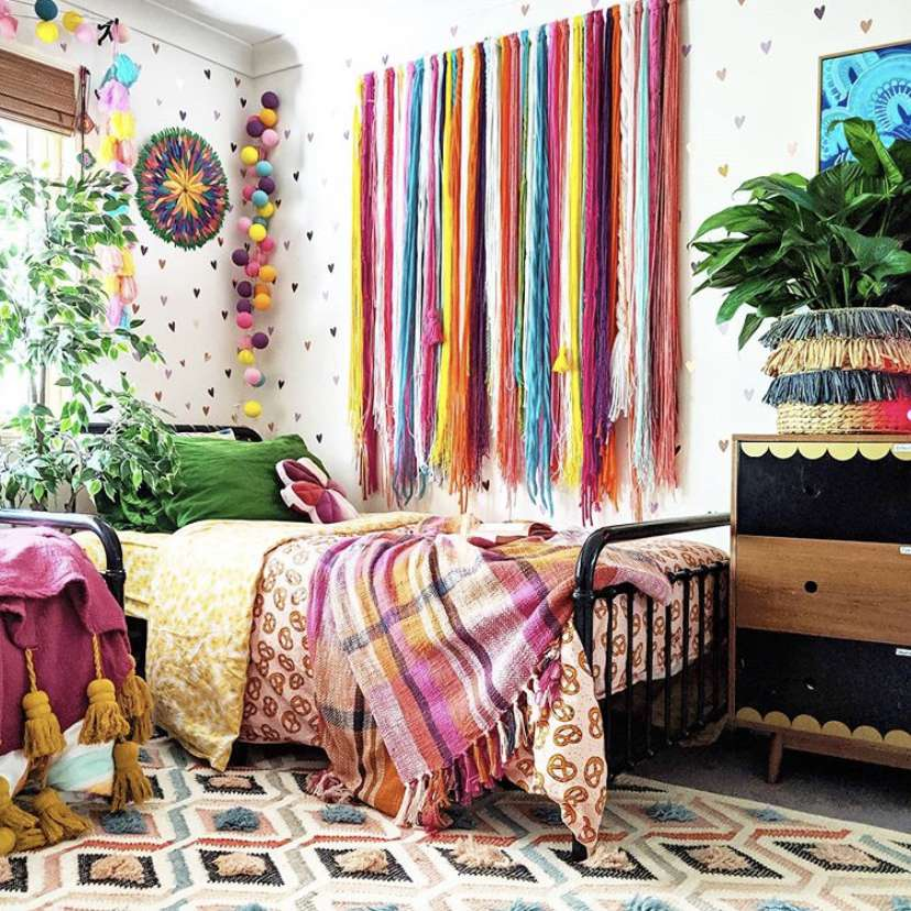 Room with rainbow-colored decor