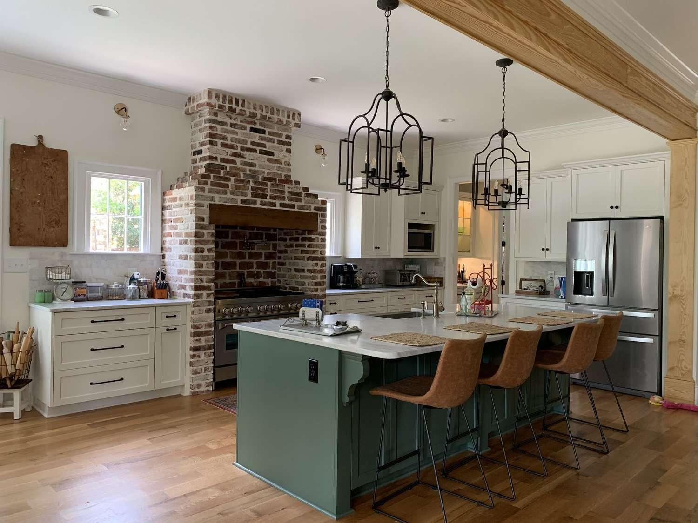 Hunter green kitchen island