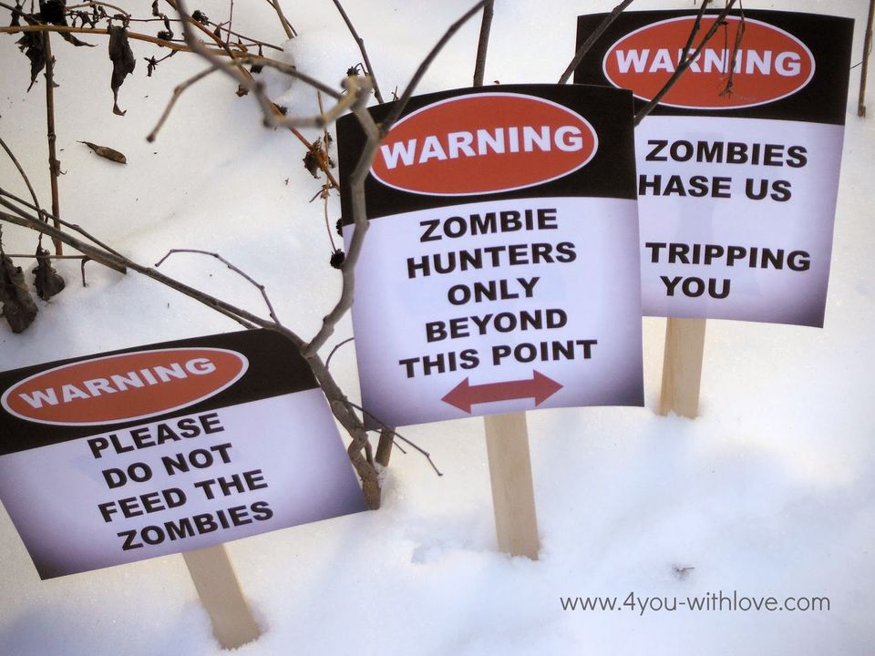 Zombie Party Signs