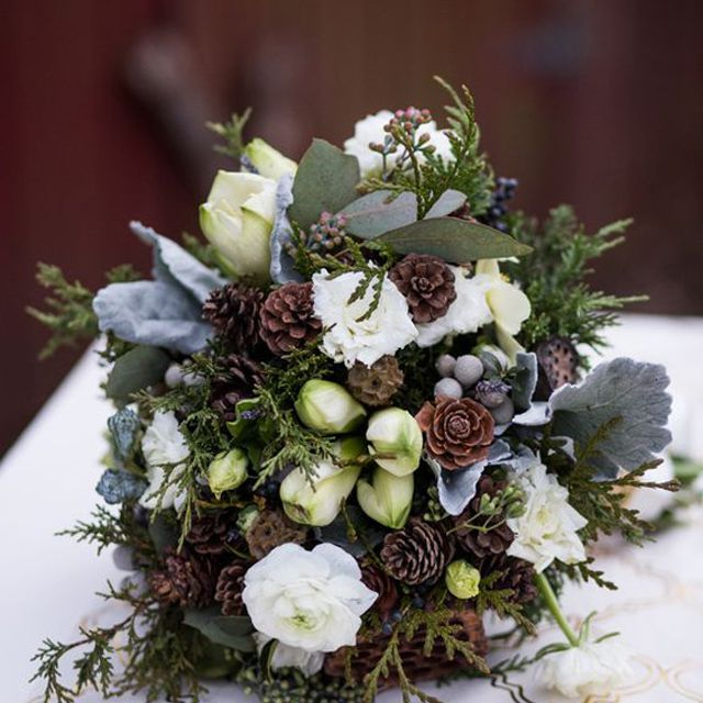 Rose, Tulip, and Pinecone Winter Wedding Bouquet