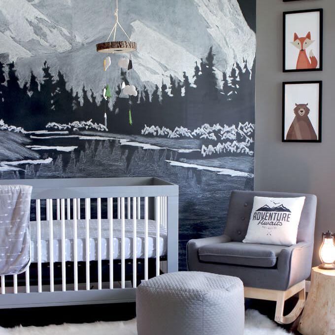Woodland nursery with chalkboard wall mountain mural