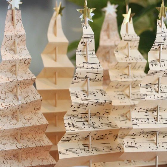 Several Christmas trees made from music sheets