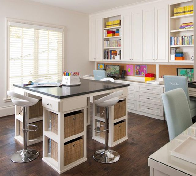Family workspace with four-person homework station