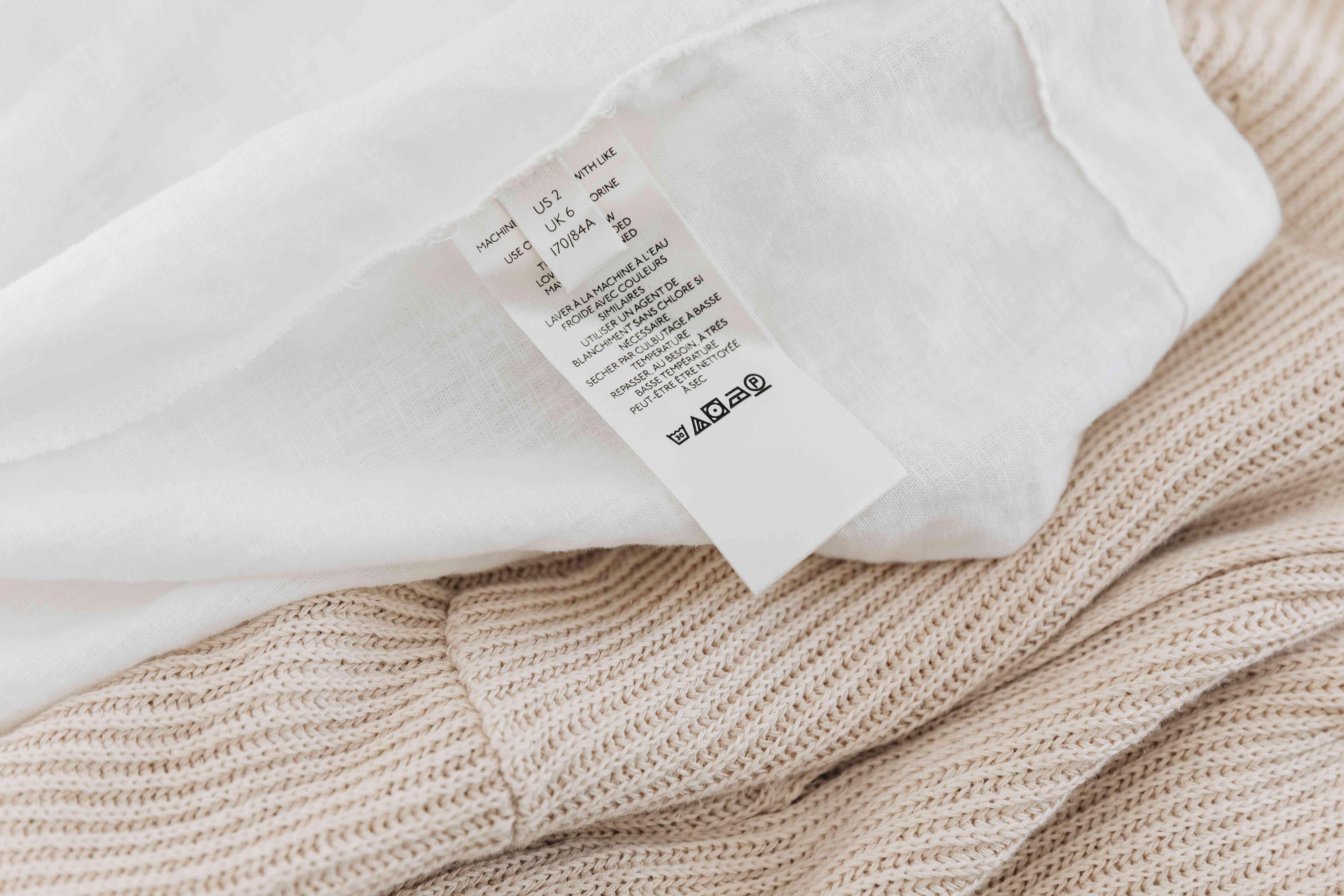 garment care label