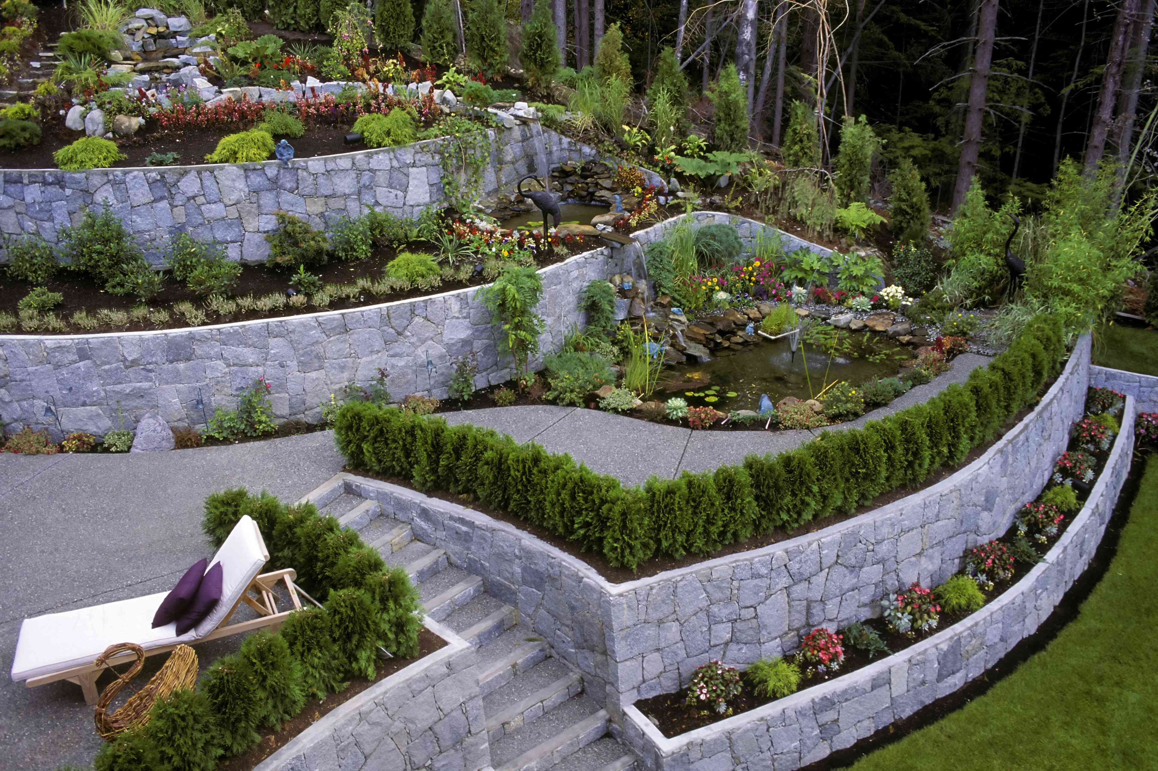 Multi-terraced garden with raised flower beds