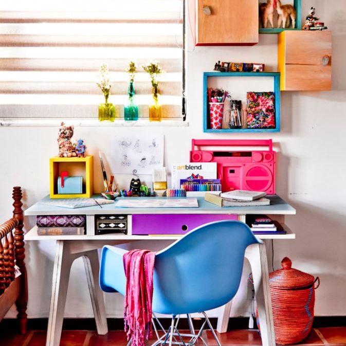 Colorful at-home desk setup