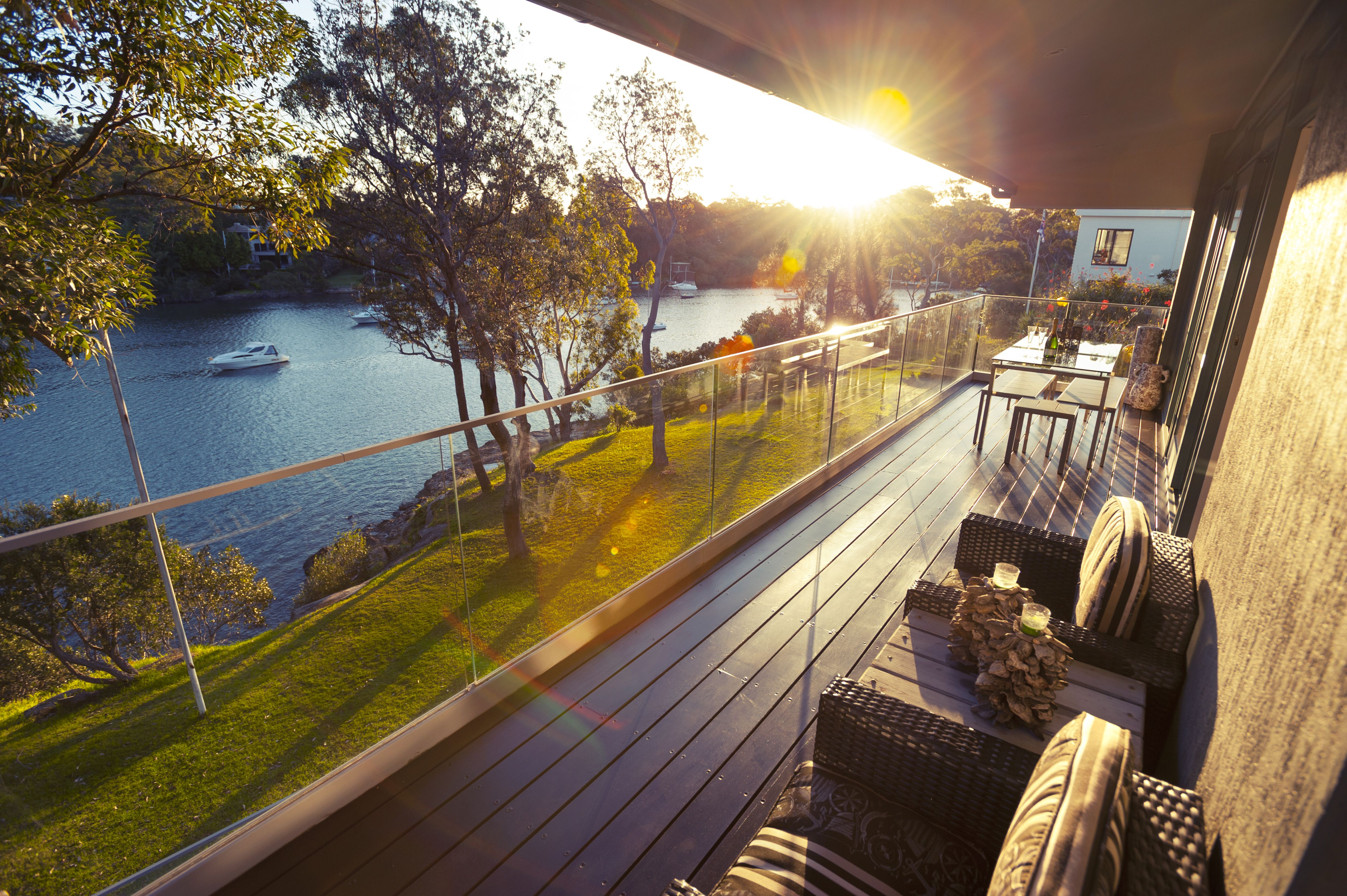 balcony deck with view of river