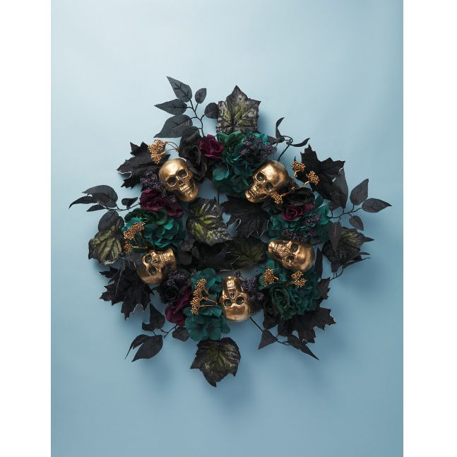 Artificial Hydrangea And Skull Wreath