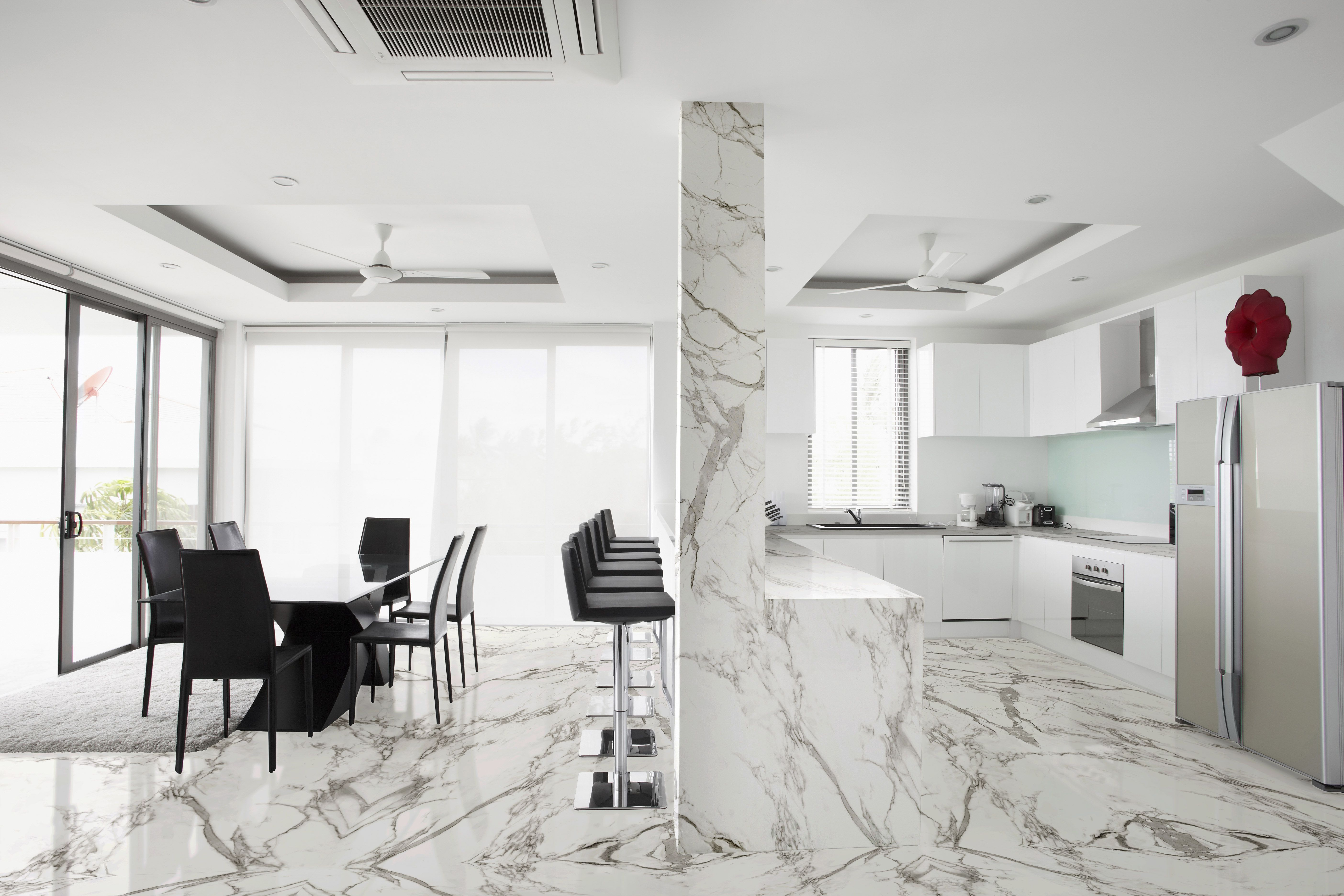 """Dekton """"Aura"""" Showing Book Matching on Floors and Counters"""