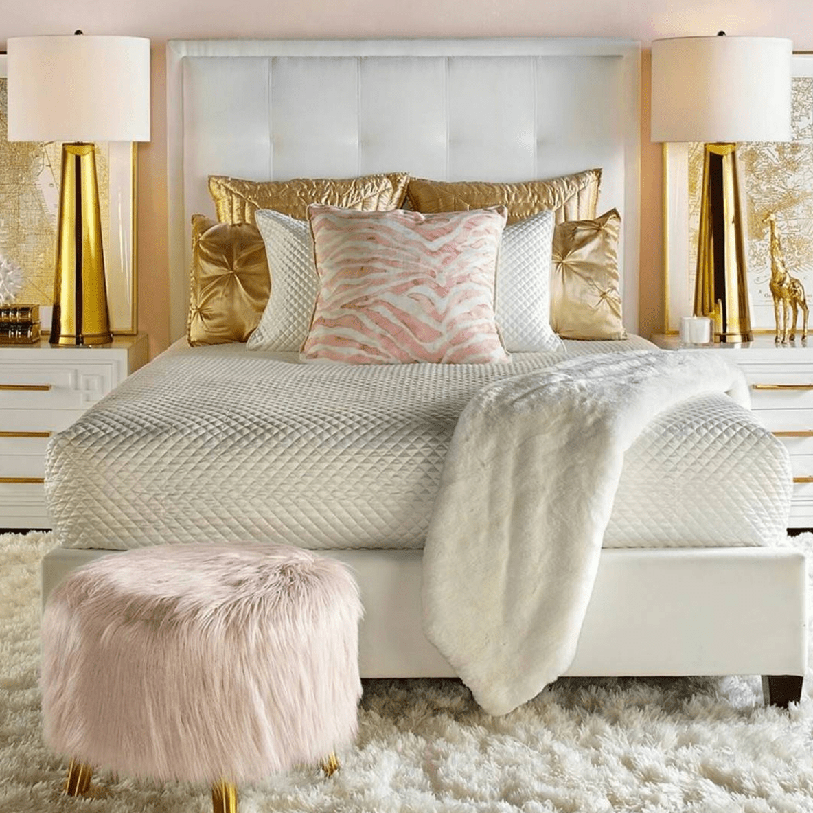 Pink and gold bedroom