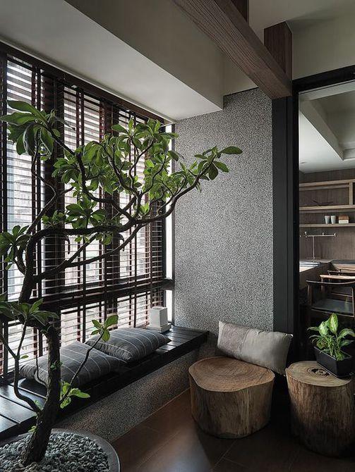 Moderna sala de estar de estilo japonés