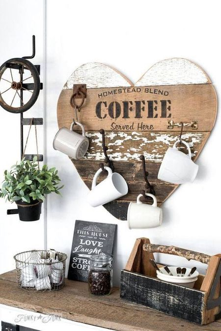 Reclaimed Wood Heart Coffee Mug Hanger