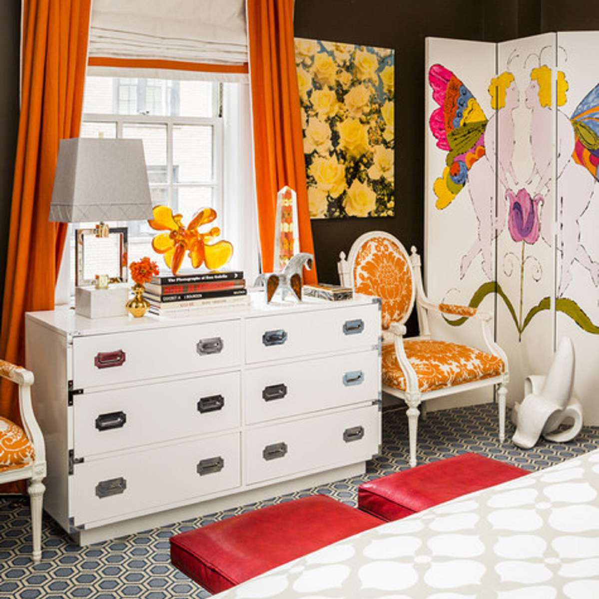 orange and white Hollywood regency bedroom