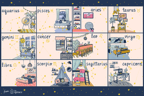how each zodiac sign decorates their homes illustration