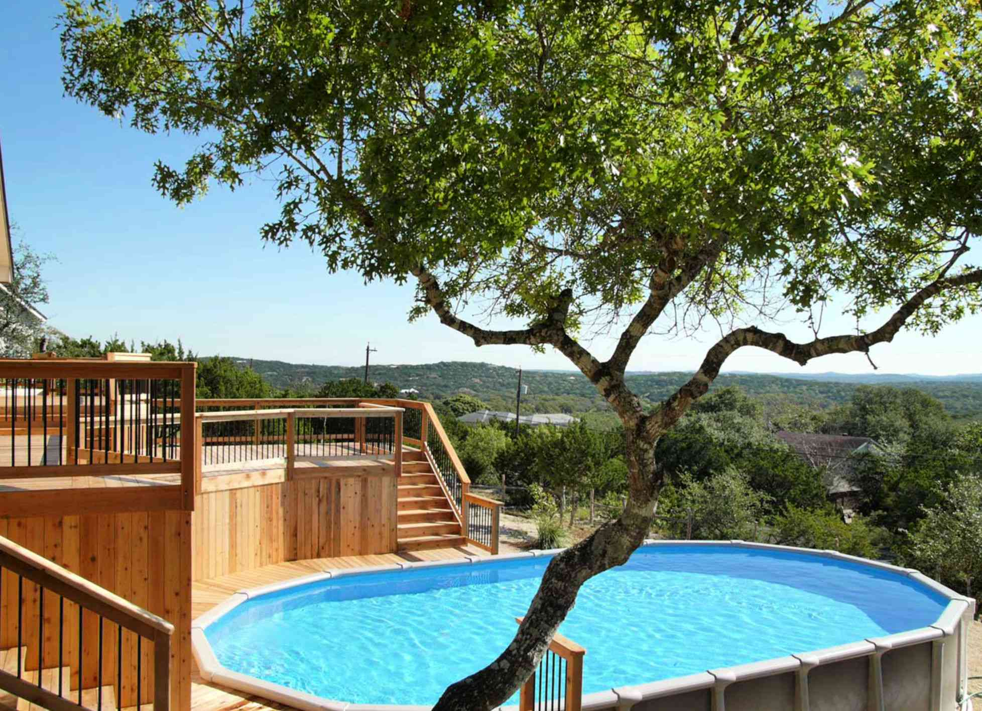above-ground pool with decking