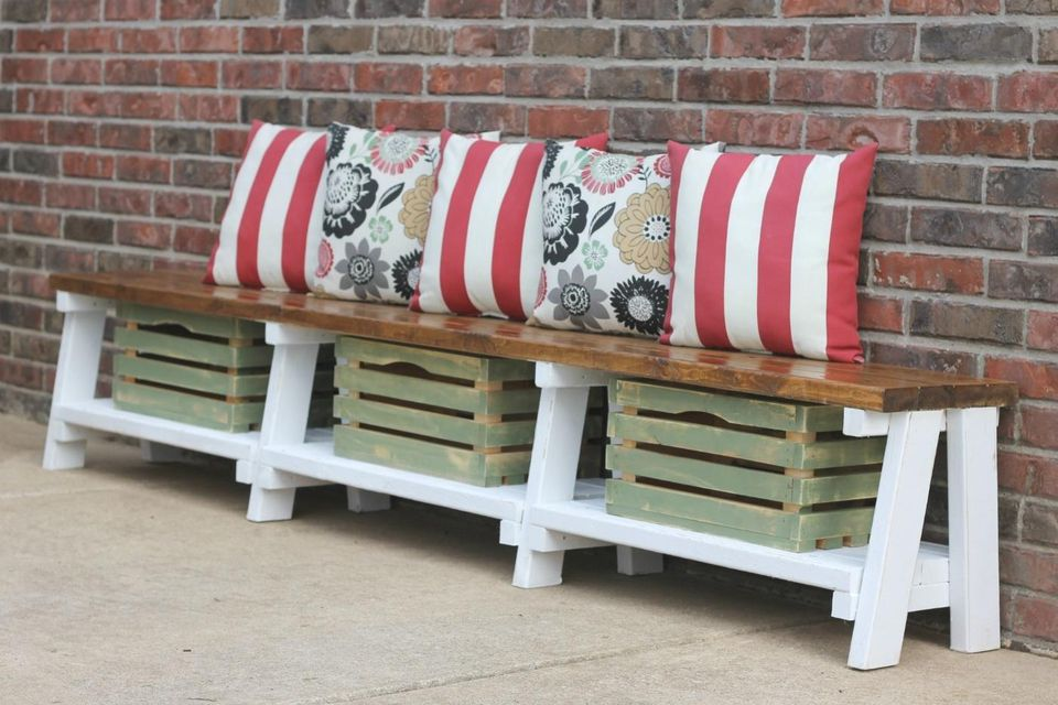 How to use crates for storage in an outdoor farmhouse bench