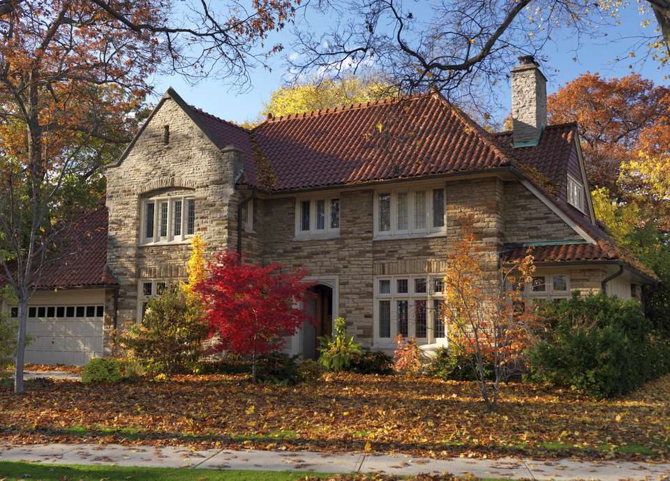 Large family house in fall, Toronto, Ontario Province, Canada