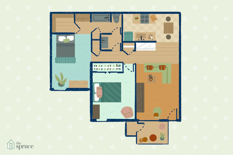small living room arrangement illustration